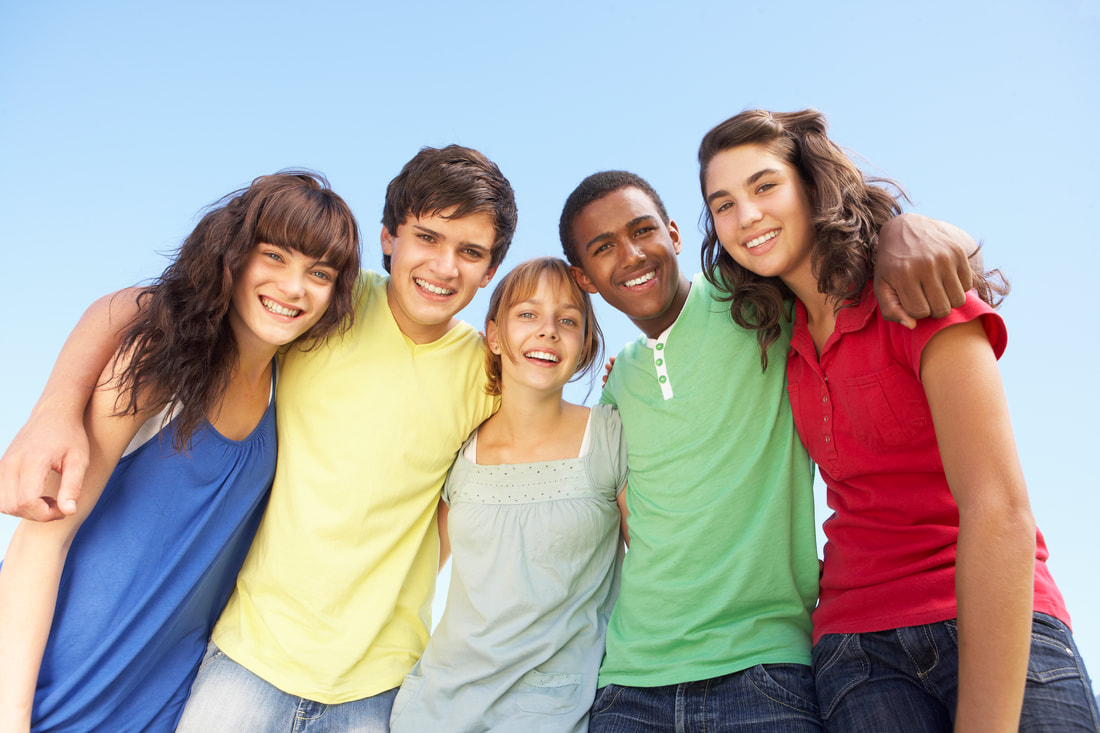 Picture of teens with positive group of friends to help cope with stresses of daily life.
